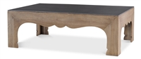 carved wood base coffee table steel top
