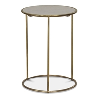 brass marble side table round