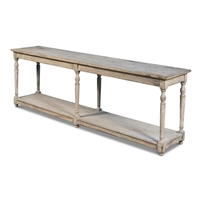 console table six legs distressed gray finish reclaimed pine lower shelf