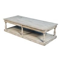 rectangle wide coffee table reclaimed wood light gray distressed natural finish