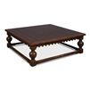 square coffee table baluster legs scalloped apron large dark brown finish wood