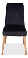 upholstered dining side chair dark navy velvet silver nail heads white washed legs