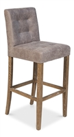 leather bar stool grey tufted back padded upholstered wood legs