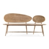 tan contemporary wood bench splayed legs two oval backs