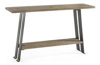 console table natural wood top gunmetal steel legs brass