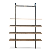 wood steel brass bookshelf