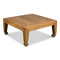 square coffee table reclaimed wood tan finish Asian style legs