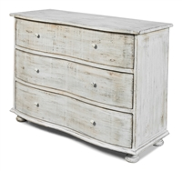 3-drawer commode chest bureau reclaimed wood distressed rustic light gray waved front bun feet