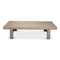 extra long rectangle coffee table wood pine French grey finish
