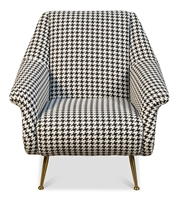 upholstered arm chair mid-century contemporary black white houndstooth gold metal legs