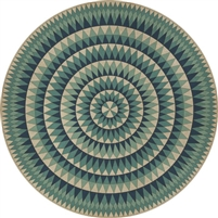 vintage vinyl floor cloth round teal blue
