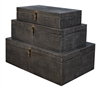 black texture boxes three brass hardware shagreen leather antiqued