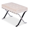 bench stool white leather square tufted polished silver stainless X-legs