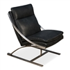 lounge chair recliner black leather stainless steel frame brushed silver