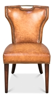 traditional mottled tan upholstered leather dining side chair nail heads wood legs