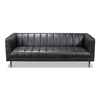 dark grey leather sofa channel stitching metal legs