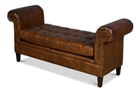 bench backless sofa settee rolled arms nail heads brown tufted leather