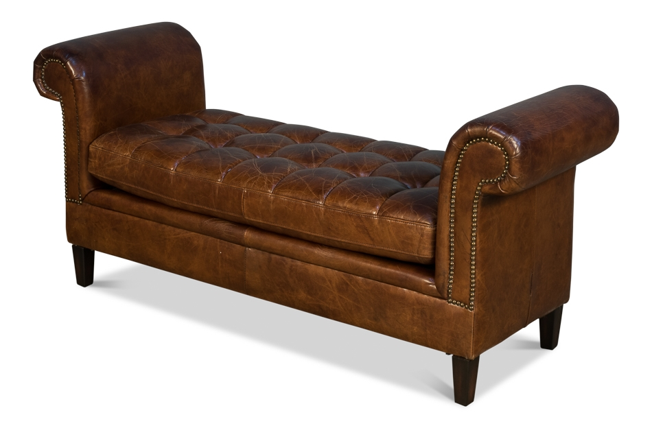 Settee Bench Brown Tufted Leather
