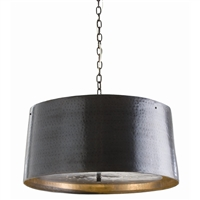 pendant light hammered iron bronze drum shade black chain