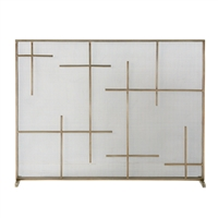 Modern Fireplace Screen - Antique Gold Cross Detail & Mesh Fire Screen