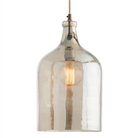 pendant light vintage brass iron iridescent smoke glass shade