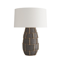 table lamp large vessel-like dark gray terracotta off-white linen shade