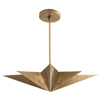 eight point star pendant light antique brass gold round mount
