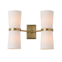dual light wall sconce ivory shade antique brass