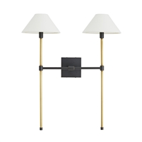 wall sconce light double brass bronze white linen shades