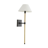 wall sconce light  brass bronze white linen shade