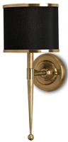 small brass wall sconce black shade