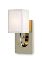 small nickel wall sconce white linen shade