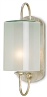 wrought iron glass silver frosted glass curved wall sconce
