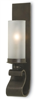wrought iron glass bronze gold wall sconce
