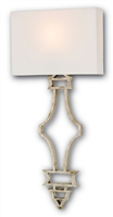 silver wrought iron body off white square shade wall sconce