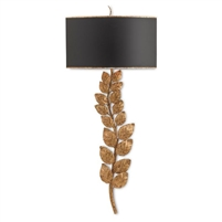 wall sconce aged gold leaf stem leaves black metal shade