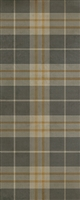 Spicher & Co. vinyl floorcloth chair mat tartan plaid gray beige gold runner