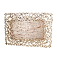 silver leaf placemat rectangle cut-outs distressed