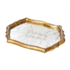 gold frame tray vintage fabric glass