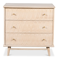3-drawer beige wood chest splayed legs gold knobs white wash