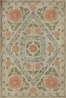 Spicher & Co. vinyl floorcloth chair mat floral vintage pink beige background green gray