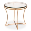 side end table gold base round beveled glass top