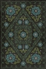 Spicher & Co. vinyl floorcloth chair mat floral vintage blue black background green