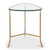 side end table gold base clear glass top