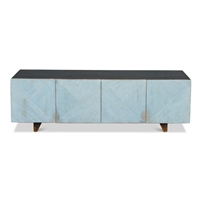 console cabinet reclaimed wood dark brown distressed light blue removable shelves