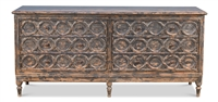 distressed black double sideboard