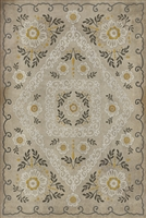 Spicher & Co. vinyl floorcloth chair mat floral vintage background gray gold