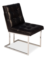 black tufted leather upholstered chair shiny polished silver nail heads light wood white wash legs modern
