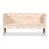 whitewashed natural reclaimed pine bench back sides