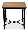square side table wood top black iron base